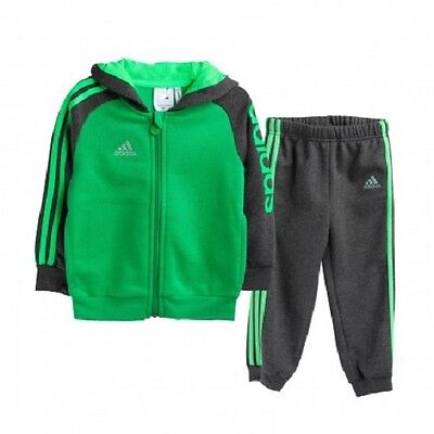 adidas infant/baby boys green / grey tracksuit. Jogging suit. Age 0-24 Months.