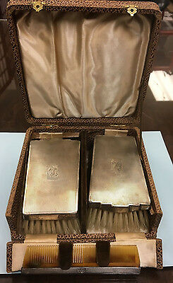 Antique Vanity Sterling Silver BrushSet Engraved and Comb Set w/ Hinged Box