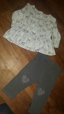 Marks and Spencer Baby Girls Outfit (top, Leggings) Age 3-6 Months (A283)
