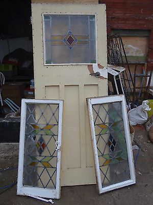 Victorian Pine Glass Door with Two Glass Side Panels