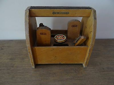 Vintage KIWI GROOMER Shoe Shine Storage Box with Handle Some Accessories Wood