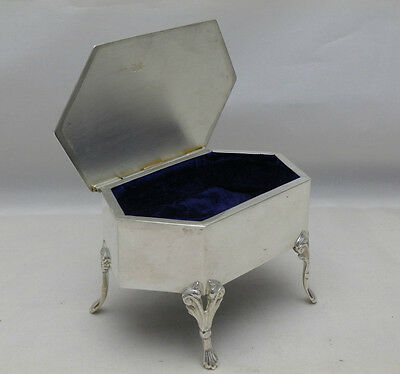 Antique Solid Sterling Silver Jewellery Trinket Box on Legs 1908 (578-4-VVN)