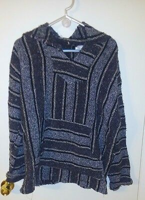 Mexican Baja Hoodie Poncho Surfer Hippie IWS Pullover Jacket unisex size XL NWT