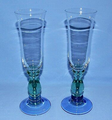 Retro Style Champagne Flutes - Green Bulbous Stem w/ Blue Foot - Set of 2