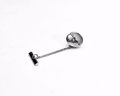 Vintage Sterling Silver Tie Tack Lapel Pin with Bar and Chain Western Style