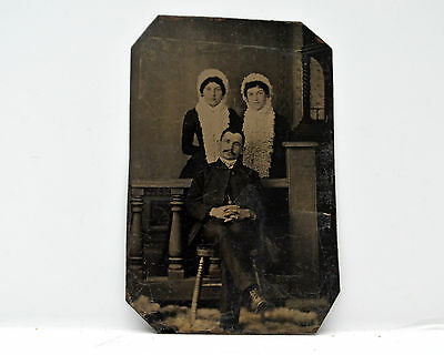 Antique Tintype Photo Portrait of Man with two Women 2.5 x 3.5 Black and White