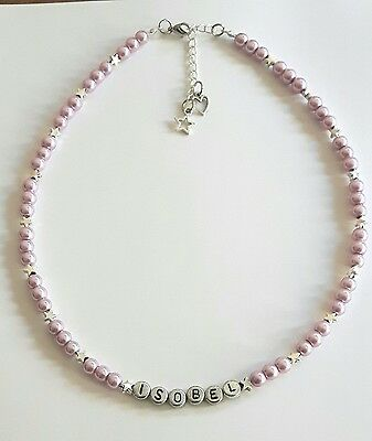 Girls personalised lilac star charm necklace Xmas Birthday Easter Party Gift