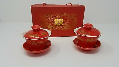 Set of 2 Chinese Tea Cups Cup Saucer Lid in Gift Box Red Gold Dragon