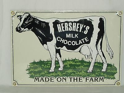 Hersheys Milk Chocolate Hereford Cow Country Country Store Enamel on Steel Sign
