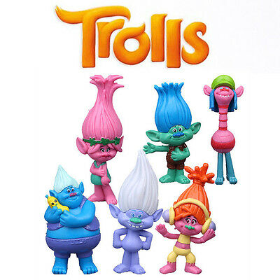 6pcs Cute Trolls Poppy Branch Action Figures Cake Toppers Doll Set Kids Toy Gift