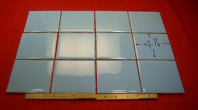 "12 pcs. Vintage  *Meduim Blue*  Glossy Ceramic Tiles 4-3/8"" by Mosaic Co. ""NOS"""
