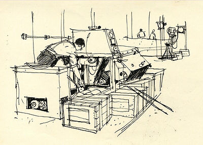 Paul Sharp - Mid 20th Century Pen and Ink Drawing, Men at Work