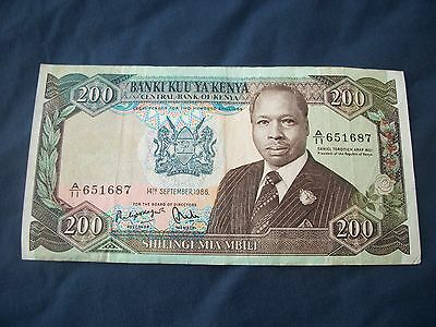 Kenya Bank Note  200 Shillings 1986