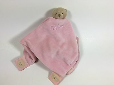 My First FAO Velour Plush Pink Security Blanket/Lovey With Bear for Baby