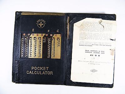 Antique Mechanical Metal Pocket Calculator + Original Real Morocco Leather Case