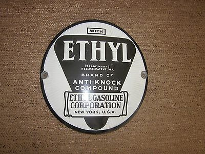 "ETHYL GAS PUMP SIGN Vintage Porcelain 7"" Round Ethyl Gasoline Corp. New York,USA"