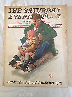 1930 Saturday Evening Post Feb 8 Alan Foster Cover Art Vintage Car Ads