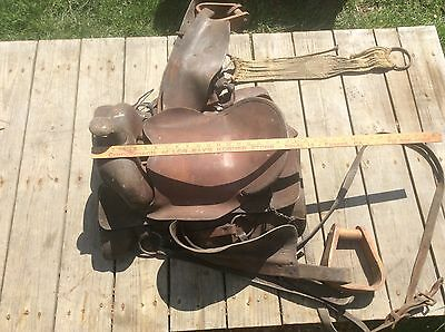 Western Leather Horse Saddle, Vintage Shabby , Wood Stirrups, Design Pattern