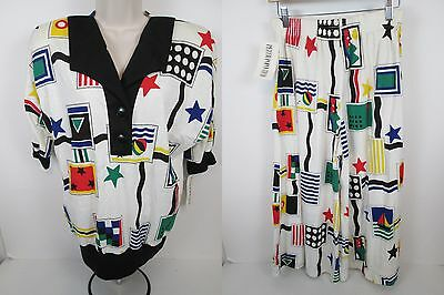 Vintage 80's Traveler Summer Relaxed Pant Set by Peter Popovitch Size M NWT #D4