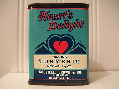 Hearts Delight Spice Tin Litho Antique Advertising Can