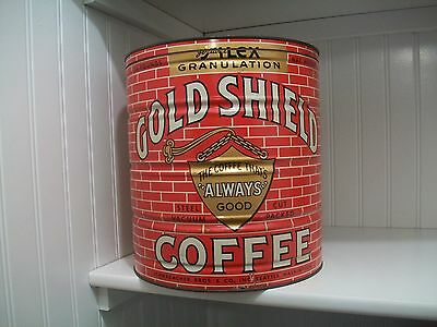 Gold Shield Coffee Tin Large Keywind Antique Advertising Can Seattle 1940