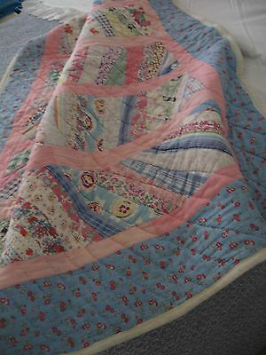 Vintage Strip Quilt, Country Baby,49X38,all Feed Sack Cotton&clean