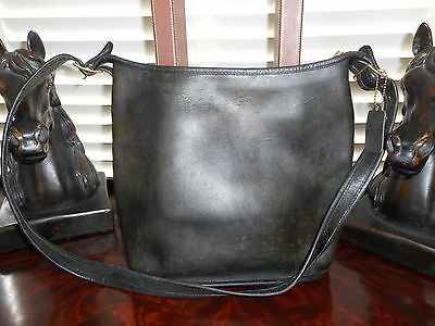 Vintage COACH Black Leather Crossbody Bag Purse  USA
