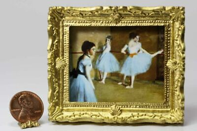 Dollhouse Miniature 1:12 Scale Artwork Gold Framed Picture of an Embroidered Sam