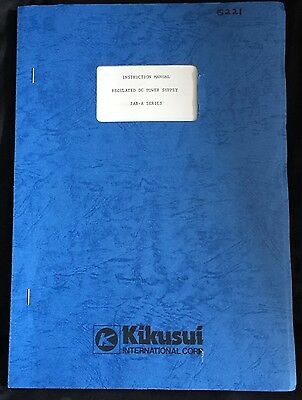 Kikusui Pab-A Series Regulated Dc Power Supply Instruction Manual