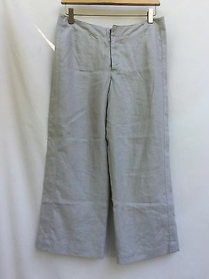 Holistia Nordstrom's size 8 Pants Light Gray Linen Cropped Flat Front Lined