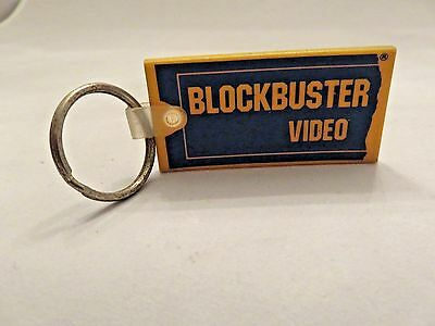VINTAGE BLOCKBUSTER Video RENTAL RUBBER LOGO KEYCHAIN BLUE & YELLOW IN COLOR OLD