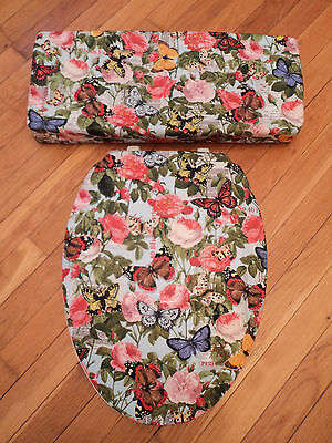 Butterfly Butterflies Floral Roses  Bathroom Toilet Seat & Tank Lid Cover Set