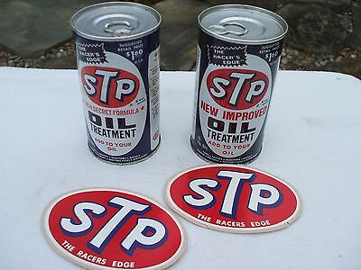 Lot of 2 Vintage STP Oil cans with stickers 1970's Racers Edge