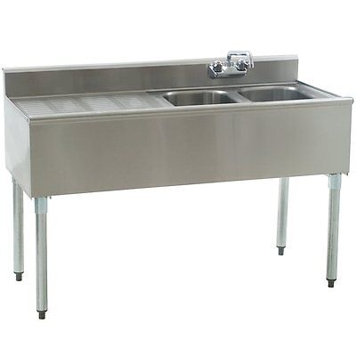 "Stainless Steel 2 Compartment Underbar Sink 48"" x 20"" with 24"" Left Drainboard"