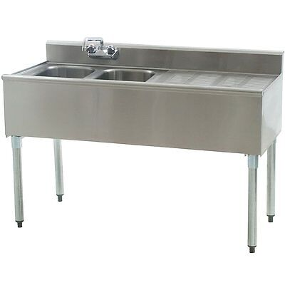 """Stainless Steel 2 Compartment Underbar Sink 48"""" x 20"""" with 24"""" Right Drainboard"""