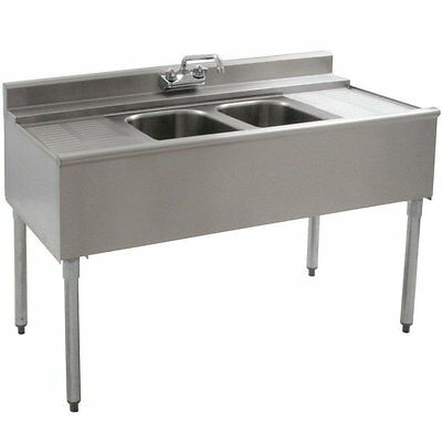 """Stainless Steel 2 Compartment Barr Sink 48"""" x 20"""" with 2 12.5"""" Drainboards"""