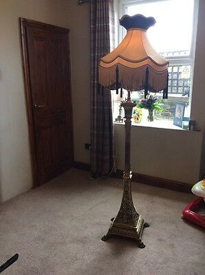 Antique Victorian Converted Brass Standard Oil Lamp