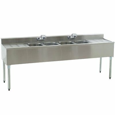 """Stainless Steel 4 Compartment Underbar Sink 84"""" x 20"""" with 18.5"""" Drainboards"""