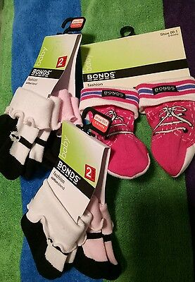 bonds baby Girls socks 5 pairs @@new with tags@@ bulk gift 0-6 mths 000/00