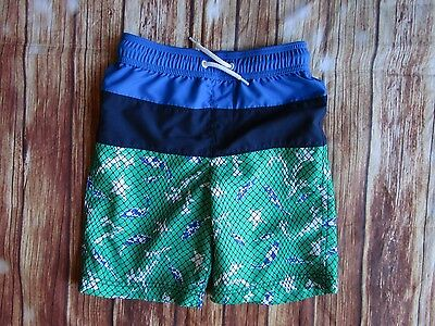 Lands End Kids Boys Swim Trunks Small 8 Blue Fish Starfish Bathing Suit