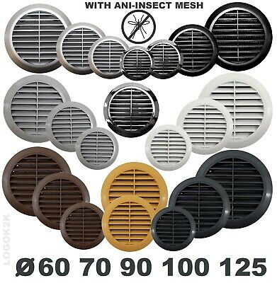 "Circle Air Vent Grill Cover Ducting Ventilation Cover Fly Net Wall Ceiling 4"" 5"""