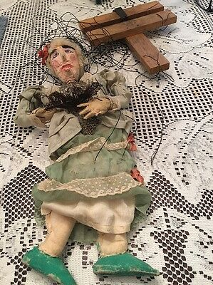 """Antique Marionette Puppet Old Lady String Puppet Plaster & Wood & Fabric 16"""""""