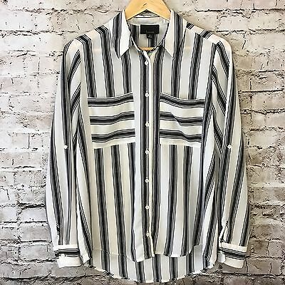 Women's Lumiere Button Up Black White Striped Long Sleeve Shirt Size S
