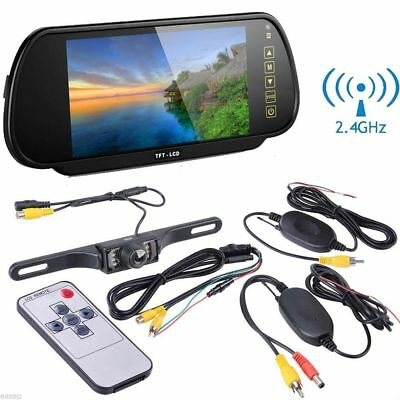 """Wireless 7"""" TFT LCD Car Rear View Mirror Monitor with HD Reverse Backup Camera"""