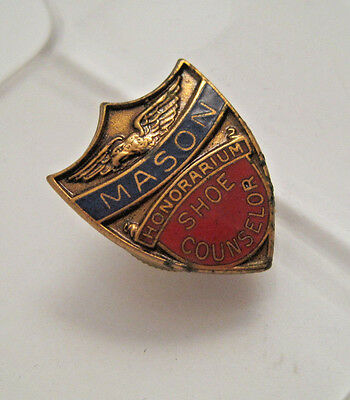 RARE Vintage MASON HONORARIUM SHOE COUNSELOR ENAMEL SHIELD AWARD LAPEL PIN