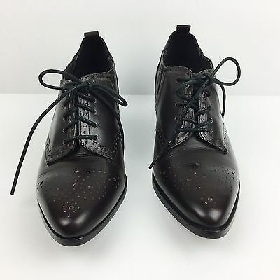 Dolce Vita Womens Size 6.5 Oxford Booties Brown Leather Lace Up Heels