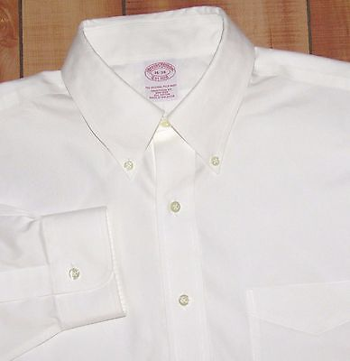 Men's BROOKS BROTHERS dress shirt 16 34 white NON-IRON TRADITIONAL FIT