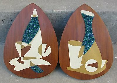 Lot of 2 Pair Set of 2 Pair  VINTAGE MID CENTURY Gravel ART WOOD WALL PLAQUES