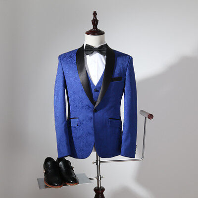 Hot Royal Blue Men Suits Groom Best Man Wedding Tuxedo Business Suit Custom Made