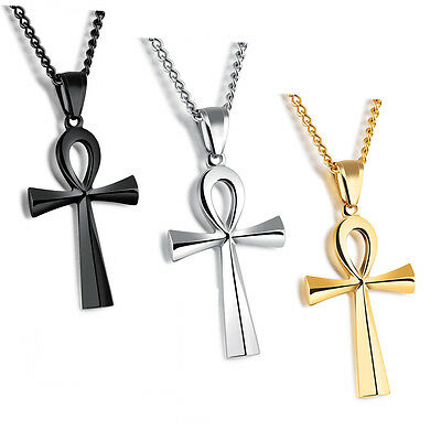 Mens Stainless Steel Large Coptic Ankh Cross Pendant Link Chain Necklace 24 inch